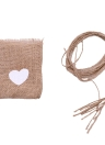 10pcs Natural Style Flax Printing Sack Bag Handbag Standard Heart Shape Cute Wedding Party Candy Bag