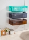 Plastic Wall Mounted Drawer Type Kitchen Bathroom Basket Storage Box Organizer Holder with Double Suckers--Grey