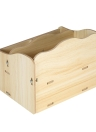 DIY Wooden Desktop Makeup Storage Box Organizer Mobile Phone Office Supplies Holder Container with Drawer--Light Wood