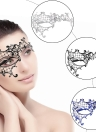 Festnight Luxury Black Laser Cut Metal Half Mask with Rhinestones Masquerade Ball Halloween Mask