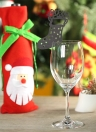 50pcs Delicate Carved Christmas Stockings Wine Glass Card Table Cards for Christmas Day Party Wedding Banquet Decoration