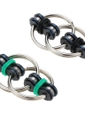 Mini Dual Key Ring Fidget Toy Interlocking Chain Links Widget EDC Pocket for Attention Focus Fun Desktoy Anxiety Stress Relief ADHD ADD Autism Kids Adults Gift Idle Hands