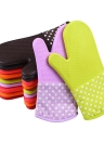 Silicone Oven Mitts With Trivet Quilted Cotton Lined Silicone Kitchen Glove Heat Resistant Potholder Gloves for Baking Cooking BBQ