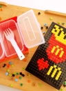 Funny Lunch Box Stylish Portable Lunchbox Good Quality Picnic Box DIY Building Block Food Containers with Foldable Fork Built on Brick Lunch Boxes