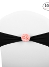 10pcs Wedding Chair Sashes Bows Elastic Spandex Chair Sash Covers with Pink Flower Wedding Banquet Supplies Decorations--Royal Blue