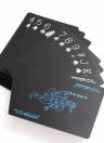 Cartes à jouer en PVC imperméable à l'eau Set Pure Color Black Card Poker Carte à tours de magie classique Yacht Family Party Party Game BBQ (Noir + rouge et argent)