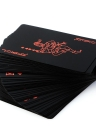 Waterproof PVC Playing Cards Set Pure Color Black Poker Card Classic Magic Tricks Tool Yacht Family Party BBQ Game Party Toy (Black + Red & Silver)