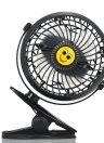 Mini USB Clip and Desk Personal Fan 2 Speed Mode Flexible 360° Ventilator Bed Office Portable Rotating Mute for Baby Stroller Car Laptop Table Home Electric Folding Air Blower (Black)