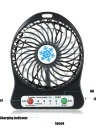 Portable Rechargeable LED Light Fan Mini Desk USB Charging Air Cooler 3 Mode Speed Regulation LED Lighting Function Cooling (Black)