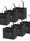 Esonmus 6 pçs / set Multipurpose Reutilizáveis Não-tecido Grande Sacolas de Compras Dobrável Sacos de Compras Bolsas de Armazenamento com Dupla Alças Reforçadas - Preto