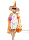 Kids Witch Wizard Cloak Hat Set Shinng Stars Pattern Halloween Role Play Cape Robe Costume for Boys Girls Blue