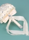 18 centimetri fatti a mano spilla da sposa strass bouquet da sposa in raso rosa fiore per la sposa forniture da sposa - beige