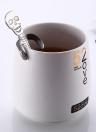 Long Handle Stainless Steel Spoon Tea Coffee Spoons Skeleton Handles Cream Teaspoon Flatware Hanging Cups Drinking Tools Kitchen Gadget Black