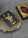55pcs/deck Waterproof Luxury Black Gold Foil Plated Poker Premium Matte Plastic Board Games PVC Bronzing Playing Cards Set Casino (Gold)