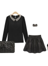Bolso de embrague de las mujeres de moda deslumbrante brillo de lentejuelas brillantes bolso bolso fiesta negro de noche