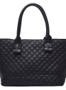 Trendy PU Leather Quilted Check Pattern Twin Zipper Shoulder Bag Tote