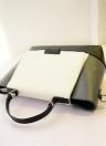 Moda mujeres OL bolso PU cuero Color bloque botón magnético mensajero Crossbody bolsa