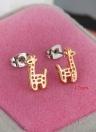 1pair 18K oro jirafa plateado crotal Stud pendientes joyas regalo para mujer dama