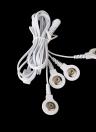Cables de conexión con 4 botones de los alambres de plomo de electrodo para TENS Digital terapia máquina masajeador enchufe de 2,5 mm