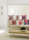 Anself ¡Muy lindo! Funda de cojín sin relleno de dibujos animados de erizo de algodón y lino cojín de almohada decorativa para cama sofá coches para la decoración del hogar de 45 * 45cm