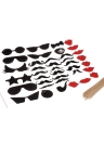 38Pcs Photo Props Mask Set for Wedding Birthday Party Friends Gathering Beard Tobacco Pipe Lips Glasses Creative Decoration