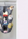 3 Layers 24 Pockets Foldable Storage Bag Multifunctional 3-Tier Hanging Closet Carousel Organizer for Cosmetic Jewelry Clothes Accessories