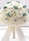 Wedding Decoration Supplies Ivory Satin Rose Luxury Crystal Salable Product for Bride Bouquet with Artificial Babysbreath and 30 Hand Made Diamond Roses White/Purple/Pink Valentines Gift