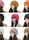 Inverno novo mulheres Beanie Chunky tricotar largo chapéu de esqui quente chapéu Cap Headwear Khaki