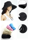 Moda donna cappello da sole pieghevole tesa larga con laccetti fiocco estate spiaggia Floppy Cap cappello nero