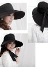 Foldable Wide Brim Self-tie Bow Summer Floppy Cap Headwear