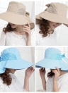 Vêtements femme chapeau de soleil pliable large bord s'attacher Bow Summer Beach disquette Cap chapellerie kaki