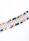 20pcs Colorful Anneaux Piercing Tongue en Acier inoxydable et acrylique Steel Ball Barbell Bars