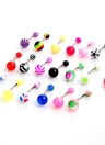 20pcs (1.6  * 10 * 5 * 8mm)Colorful billes Piercing courbé nombril en acier inoxydable Barbell Anneaux Nombril Belly Button