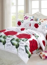 4pcs 3D Printed Bedding Set Bedclothes Red Rose in Full Bloom Duvet Cover Bed Sheet 2 Pillowcases
