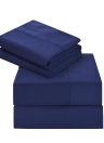 Htovila 4-pièces ensemble de draps doux brossé microfibre ensemble de literie drap + drap-housse + 2pcs taie d'oreiller - Queen Size + Grey