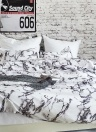 Soft Polyester Brushed Microfiber Duvet Set with Zipper Closure Marble Printed Pattern Duvet Cover + 2pcs Pillowcases--Twin Size