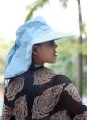 New Fashion Nylon Bluetooth Sun Hats Large Brimmed Hat for Woman Summer Bluetooth Music Hat Wireless Hands-Free Smart Cap Headphone Headset Speaker Mic
