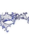 Festnight de lujo azul cortado con láser de metal media máscara con la máscara de diamantes de imitación de la mascarada de la bola de Halloween
