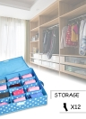 12-Comparment Waterproof Oxford Fabric Foldable Underwear Storage Box Case Ties Socks Closet Drawer Organizer Container with Cover--Rose Red