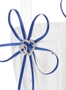 6 * 6 inches Double Heart Satin Ring Bearer Pillow and Wedding Flower Girl Basket Set with Rhinestone Ribbon Decoration White