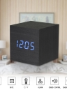 Wooden Sounds Acoustic Control Digital LED Alarm Clock Vintage Electronic Display Temperature Calendar Blue