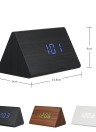 Wooden Triangle Electronic Clock Digital Alarm Time LED Display Sounds Control Temperature Blue
