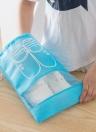 Viaje a prueba de agua a prueba de polvo organizador de zapatos Bolsas con cordón transparente Ventana Impermeable bolso de almacenamiento no tejido organizador de la caja del bolso (azul claro S)