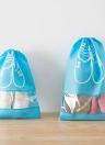 Домашние путешествия Пылезащитные башмаки Организатор Сумки с Drawstring Прозрачные окна Водонепроницаемые нетканые туристические обувь Сумка для хранения сумка Организатор (светло-синий S)