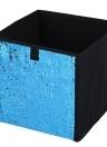 Non-Tissé Pliant Grand Cube De Stockage Boîte DIY Sequin Boîte De Rangement Ménage Jouets Livres Vêtements Articles Divers Organisateur - Bleu