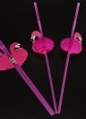 50pcs / set di plastica sveglio Cannucce per il compleanno di nozze Baby Shower celebrazione e festa multifunzionali cannucce con Flamingo decorato