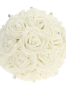 Wedding Decoration Supplies Ivory Rose Luxury Crystal Salable Product for Bride Bouquet with Artificial Rhinestone and 16 Hand Made Diamond Roses Valentines Gift