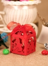 50pcs Delicate Carved Christmas Snowman DIY Candy Cookie Gift Boxes with Ribbon for Christmas Day Party Wedding Banquet