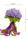 Wedding Bouquet PE Rose Artificial Flower Bouquets Wedding Decorative Bridesmaid Flower Bouquet Crystal Pearl