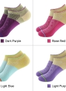 3 Pairs Women's Breathable Cotton Low Cut No Show Boat Socks Running Athletic Ankle Socks for US 5.5-7.5 / UK 4.5-6.5 / European 36-39--Dark Purple
